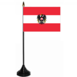 Austria Eagle Desk / Table Flag with plastic stand and base.